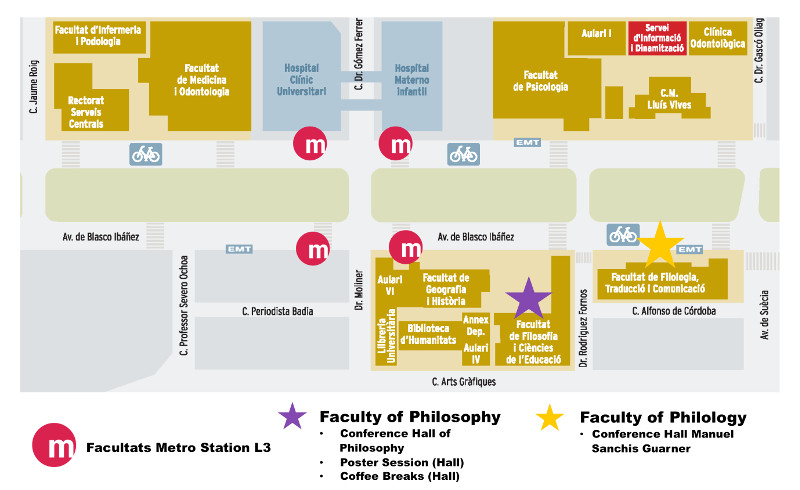 Map of faculty locations in Valencia