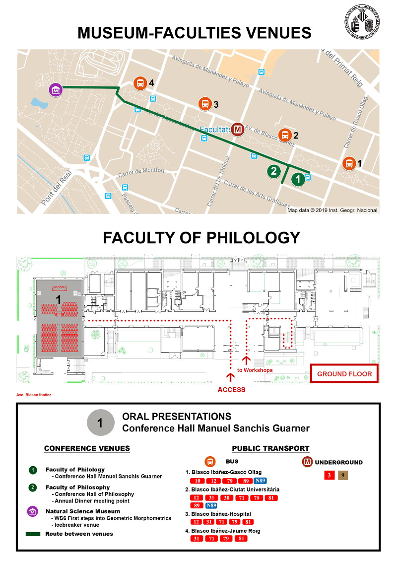 Map of showing Museum and The Faculty of Philology building and location