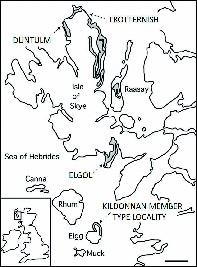Map showing the Great Estuarine Group outcrops