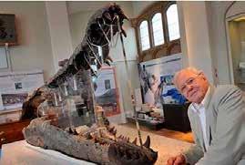 David Attenborough with Goniopholis kipingli