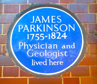 Blue plaque commemorates the home of James Parkinson