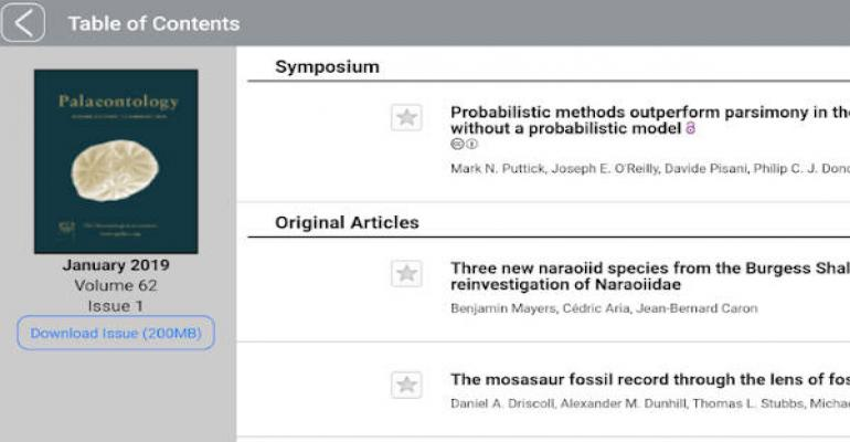 A Palaeontological Association Multi-journal App is now available from WIley